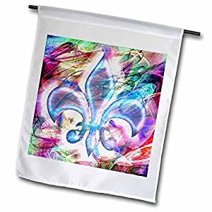 dooni Designs 抽象和 surreal 艺术–Fleur de LIS 抽象艺术–旗帜 12 x 18 inch Garden Flag
