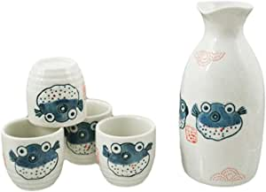 Happy Sales HSSS-BLF18, Porcelain Sake Set Blowfish