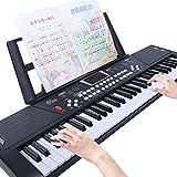 活石 61键儿童电子琴成人初学入门者乐器钢琴 (61键-雅致黑)