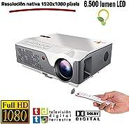 投影仪 Nativer 全高清 1080P 投影仪,Unicview FHD950(1920 x 1080),6.500 LED 灯,低价的*大亮度,便携式 LED 家庭影院 AC3 HDMI USB MKV 集成电视(