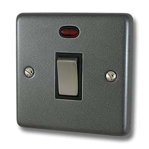Contour Zinn 20 A DP 开关带霓虹(黑色插入/不锈钢开关)