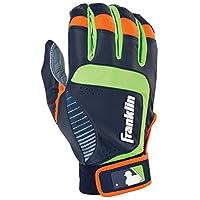 Franklin Sports Adult MLB Shok-Sorb Neo Batting Gloves, Adult Large, Pair, Gray/Navy/Lime