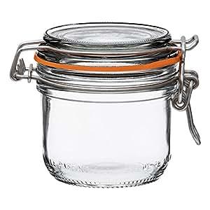 Le Parfait Super Terrines - 宽口法国玻璃保存罐带直体、玻璃盖和天然橡胶密封罐 - 罐 透明 200ml - 7oz - SS