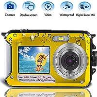 潜水摄像机,防水摄像机,2.7K 48MP 数码相机高清可充电水下摄像机,双屏幕,非常适合潜水、游泳、露营、浮潜
