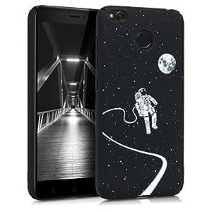 kwmobile 手机壳 适用于小米 Redmi 4X - 硬质塑料防滑防震保护手机套 - 紫罗兰色哑光44856.01_m000822 Astronaut and Moon white black
