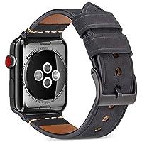 沃卒(WOOZU) Apple Watch表带真皮 苹果手表4代表带 Apple Watch Series 4疯马纹磨砂表带 Apple Watch 4表带牛皮 iWatch 44mm表带 Apple Watch 44mm表带 Apple Watch保护套保护壳(44mm) (44mm, 黑色)