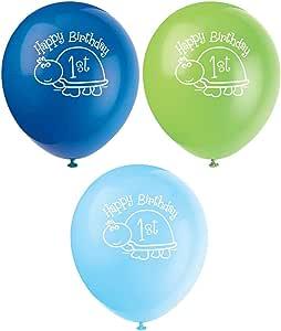 "12"" Latex Turtle 1st Birthday Balloons, 8ct"