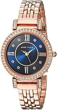 Anne Klein 女士施華洛世奇水晶重音手鏈手表,玫瑰金色調