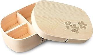 CtoC JAPAN Select 便当盒 天然杉 700ml 便当盒 弯曲 满边 四角 樱花图案 CTCFH09W-sakura