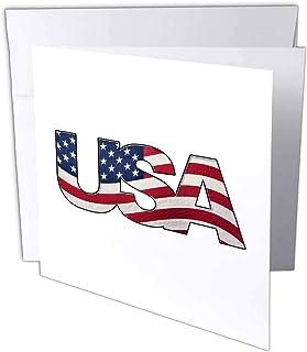 Carsten Reisinger - 插图 - 美国爱国标牌,背景上印有逼真波浪旗 - 贺卡 Set of 6 Greeting Cards