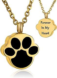 Murinsar 狗/猫爪纪念骨灰吊坠项链 动物足迹火葬纪念品首饰 - Forever in My Heart Back
