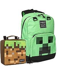 JINX Minecraft 17 英寸(约 43.2 厘米)Creepin Up 儿童背包和防污午餐袋组合套装