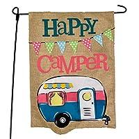 JEC 家居用品露营露营 花园旗 快乐露营者 蓝色 设计 - 适合露营的夏季花园旗 31.75 x 45.72 厘米