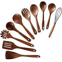 NAYAHOSE 木制烹饪用具,10 件柚木木制烹饪勺和烹饪铲,包括勺勺勺子 (10)