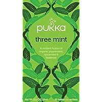 Pukka Three Mint Herbal Tea Bags - Organic & Fair Peppermint, Spearmint and Fieldmint - Naturally Caffeine Free (Pack of 4)