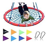 Royal Oak 巨型 40 英寸蜘蛛网树摇篮,承重 600 磅,耐用钢框架,防水,可调节绳,赠送国旗套装 2 个登山扣,非停止趣味儿童! 蜘蛛网