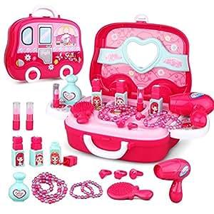 Life-Tandy 化妆盒玩具套装适用于小女孩塑料迷你吹风机梳子项链手链戒指假装游戏儿童套件 圣诞节礼物