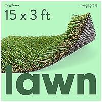 MEGAGRASS 草坪和景观的人造草坪 - 室内和室外厚实合成草草草草地毯,适用于风景、前院和后院,尺寸可定制 Custom Width - 15 FT 15Ft x 3Ft = 45 SqFt, 27.69 lbs