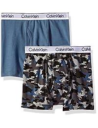 Calvin Klein 男孩现代棉质混色平角内裤,多条装  2 Pack - Blue Camo, China Blue Small (6/7)
