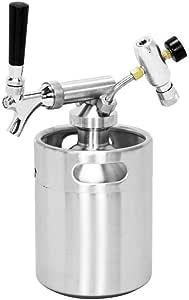 SupYaque 加压啤酒迷你桶升酒器水龙头系统,适用于便携式啤酒分配器,带不锈钢迷你瓶调节器保持碳酸和工艺,牵引啤酒分配器 银色 64 oz