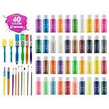 Kids Tempera 颜料套装 | 超值套装包括 40 支可水洗*彩色颜料(2 盎司瓶)和 15 支刷子 | 金属,荧光,黑暗发光颜料 | 艺术和工艺品颜料,趣味项目