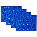 Pegboard Wall Organizer 瓷砖 - 墙壁控制模块化金属钉板瓷砖套装 - 四个 12 英寸高 x 16 英寸宽的木栓板板墙纸存储瓷砖 - 易于安装 蓝色 PEG-BOARD-1264 BU