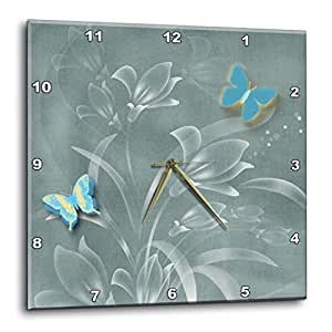 3dRose dpp_128913_1 Pretty Damask Background in Sage Greens and Butterflies and Flowers Wall Clock, 10 by 10-Inch