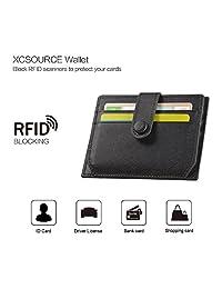 XCSOURCE 超薄真皮 RFID 屏蔽钱包 - 男士女士真皮钱包卡包带拉链零钱袋