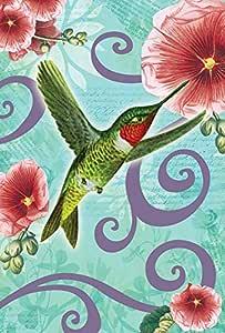 托兰 家居花园红宝石抛掷蜂鸟 31.75 x 45.72 cm 装饰春花鸟花园旗帜