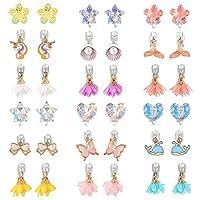 PinkSheep 18 对夹式耳环,适合小女孩、儿童首饰耳环套装,独角兽耳夹花朵耳夹美人鱼耳夹,女孩装扮