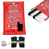 JJ CARE [全合一] 消防毯带消防手套 适用于露营、烧烤、厨房*、汽车和火炉阻毯 适用于紧急 101.6 厘米 x 101.6 厘米