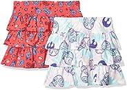 Amazon Brand - 斑点斑马女孩 Disney 针织褶皱滑板车裙,2 件套