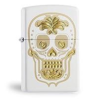 Zippo 之宝 美国防风打火机礼品 金色骷髅 白色哑漆 28792 白色/金色