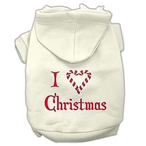 Mirage Pet Products I Heart Christmas 丝网印花宠物连帽衫 奶油色 3X-Large