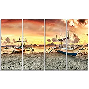 "Design Art 3 件套日落海岸船摄影帆布 多面板艺术打印 黄色 48x28"" - 4 Equal Panels PT9203-271"