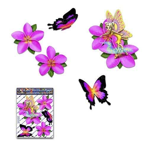 小FAIRY Fantasy Frangipani Plumeria Pink FLOWER + BUTTERFLY 动物贴花 汽车贴纸 - ST00062PK_SML