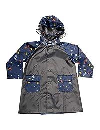 Makku 双层大衣 粉色星星图案×蓝色 90cm 雨衣 儿童 双肩包 蓄光 透明挂钩 带收纳袋 YZ-100