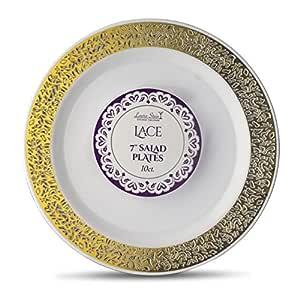 Laura Stein 设计师餐具蕾丝系列热印章塑料一次性盘子 7'' INCH PLATES LCE-P7G