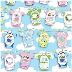 Jillson Roberts Baby Shower Flat Gift Wrap, Onesies Twosies, 12 Sheet-Count (F318)