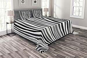 Lunarable Tribal 床罩套装,非洲图案 民族效果 传统文化 民谣复古设计,装饰性绗缝 3 件枕套套装 2 个枕套,多色 Multi 31 Queen bed_12959_queen