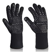 烧烤手套 EXTREME 耐高温烤箱手套适用于烹饪烧烤烘焙微波炉 high-temperature anti-hot 手套超长袖口 (1pair & 黑色