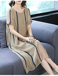 仿真丝连衣裙女夏2018新款宽松大码优雅印花中长款雪纺裙子