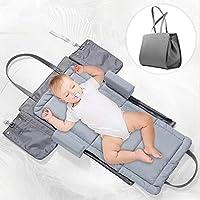 Forstart 3 合 1 便携式婴儿旅行婴儿床,通用婴儿旅行手提袋时尚妈妈包手推车鞍袋可折叠婴儿床尿布袋便携式换尿布台,灰色