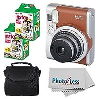 Fujifilm INSTAX 迷你 90 Neo 经典即时相机(棕色)带 2 个 Fujifilm Instax 迷你 20 个装即时胶片(40 次)+ 紧凑相机包 + 清洁布 - 国际版