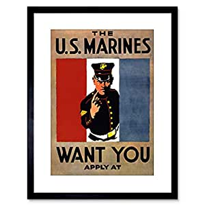 The Art Stop VINTAGE AD PROPAGANDA RECRUIT US MARINES MILITARY WAR 框架印画 F97X5979 黑色 9 x 7 inc - 23 x 18 cm F97X5979_Black