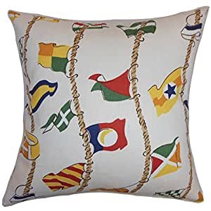 "The Pillow Collection Inagua Flags 欧式枕套 多种颜色 ""Multi"" European/26"" x 26"" EURO-D-21014-MULT-C100"
