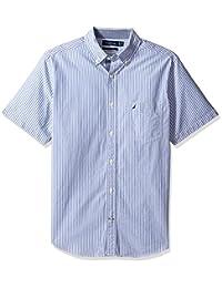 Nautica 男士短袖经典修身垂直条纹系扣衬衫
