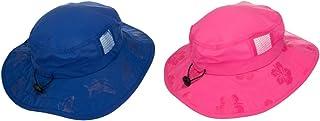 Kids' UPF 50+ safari 太阳帽粉色和蓝色花卉图案 UV 防晒轻便扣带 SELECTION