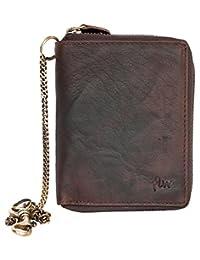 深棕色天然结实真皮钱包,金属拉链带链