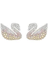 Swarovski 施华洛世奇 女士Iconic Swan渐变色小天鹅穿孔耳环 5215037(奥地利品牌 )